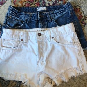 2 PAIR FREE PEOPLE SHORT SHORTS SIZE 27